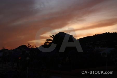 Mountain javea sunset spain silhouette.