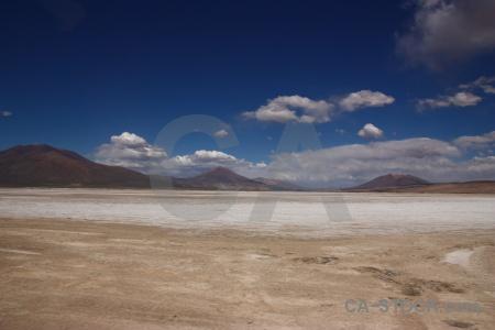 Mountain landscape south america salar de chiguana salt flat.