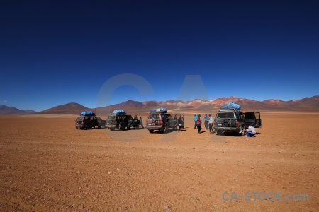 Mountain landscape south america siloli desert vehicle.