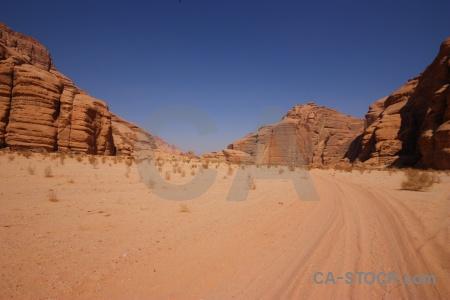 Mountain landscape wadi rum sand asia.