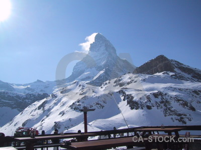 Mountain person snow landscape matterhorn.