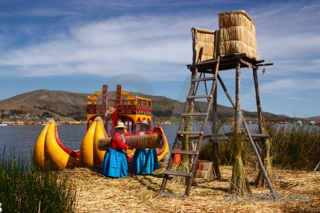 Mountain peru lake uros south america.