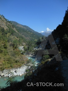 Mountain river nepal trek snow.