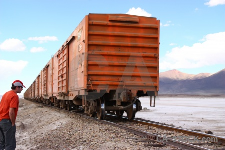 Mountain salt flat cloud south america railway.