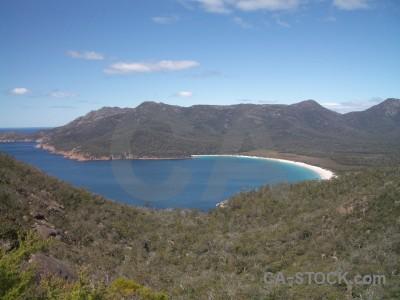 Mountain sea coast beach landscape.