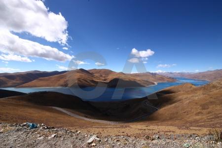 Mountain sky asia yamdrok lake himalayan.