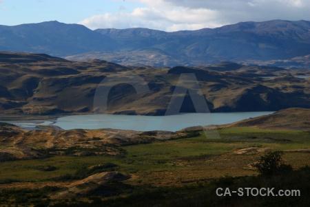 Mountain sky landscape lago amarga grass.