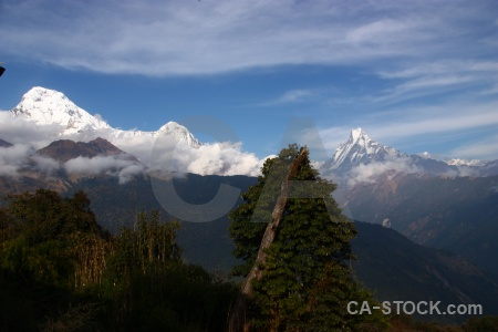 Mountain snow fish tail cloud nepal.