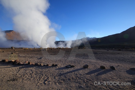 Mountain steam andes geyser atacama desert.