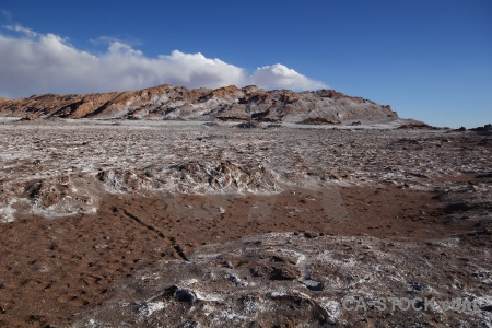 Mountain valley of the moon rock desert atacama.