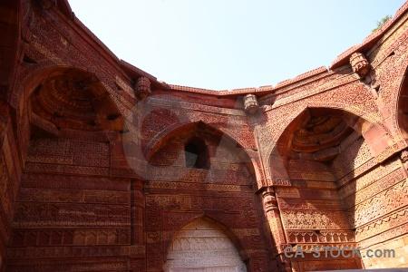 New delhi unesco brick archway sky.