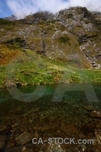 New zealand hollyford river grass rock cloud.