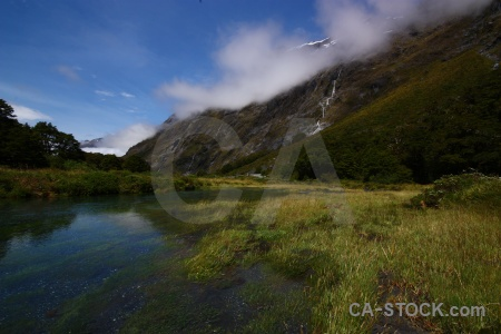 New zealand hollyford river south island sky water.