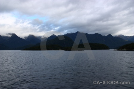 New zealand lake manapouri mountain cloud sky.