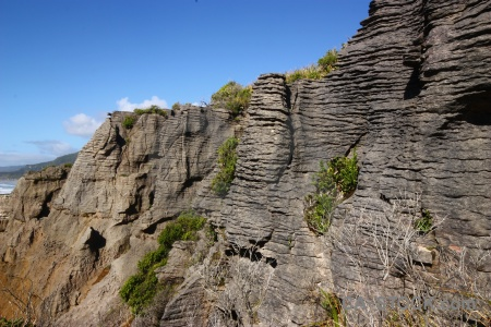 New zealand pancake rocks sky dolomite point water.