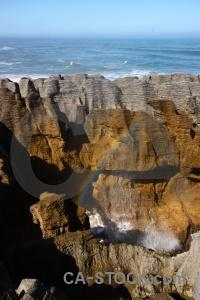 New zealand rock blowhole rainbow south island.
