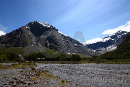 New zealand rock mountain grass cloud.