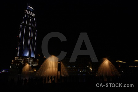 Night dubai building asia fountain.