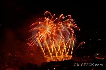 Night europe orange firework spain.