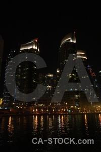 Night western asia uae building reflection.