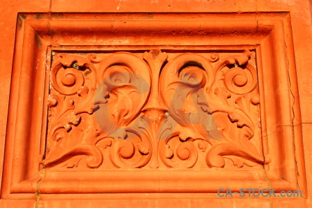 Orange ornate red.