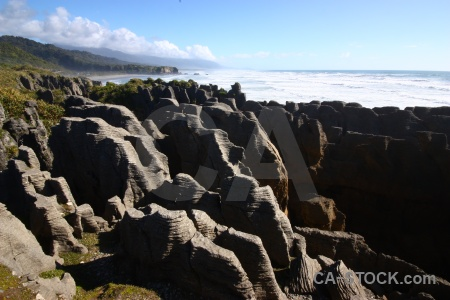 Pancake rocks punakaiki sky west coast mountain.