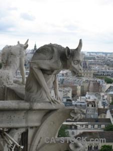 Paris europe notre dame statue france.