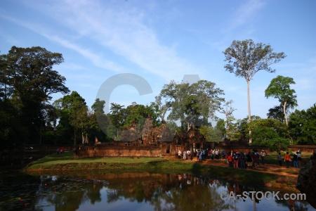 Person angkor water sky unesco.