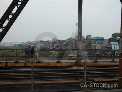 Person asia building track beam.