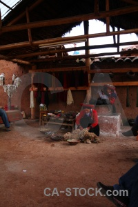 Person chinchero wool making south america peru.