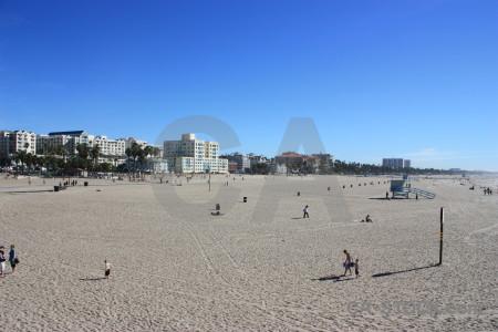 Person cityscape blue beach building.