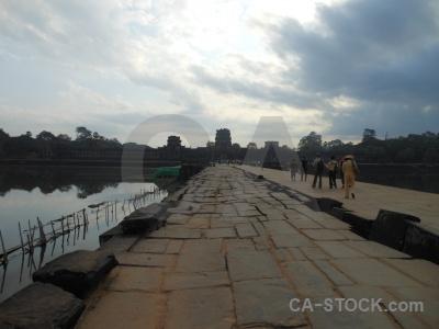 Person cloud temple ruin khmer.