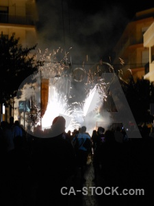 Person firework correfocs building fiesta.