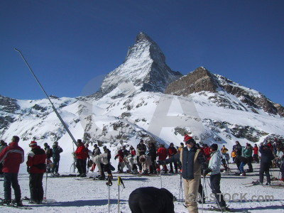 Person matterhorn landscape snow mountain.