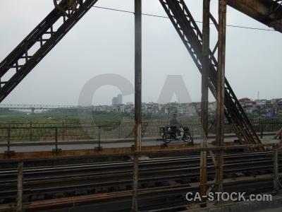 Person railway vietnam bridge sky.