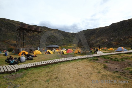 Person tent circuit trek south america chile.
