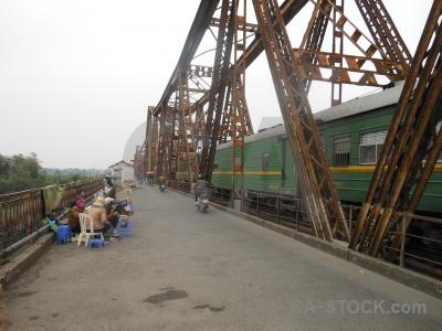Person track metal bridge railway.