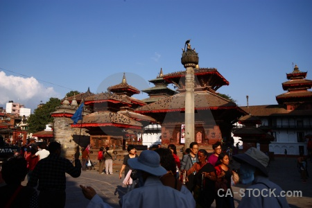 Person wood durbar square building nepal.