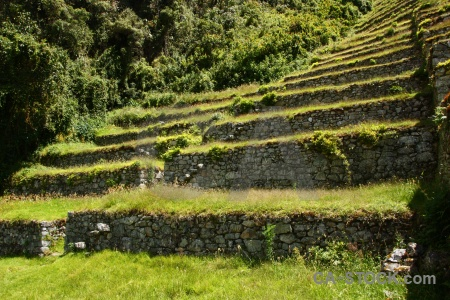 Peru andes grass stone terrace.