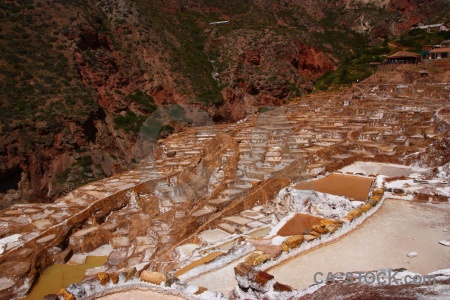 Peru maras salt mine pool.