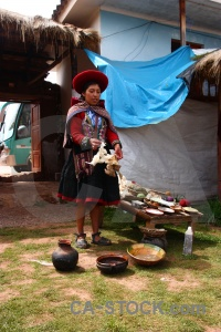 Peru woman andes bowl building.