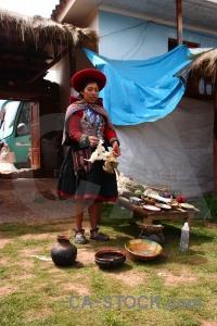 Peru woman andes bowl building.