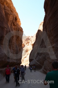 Petra al siq path canyon person.