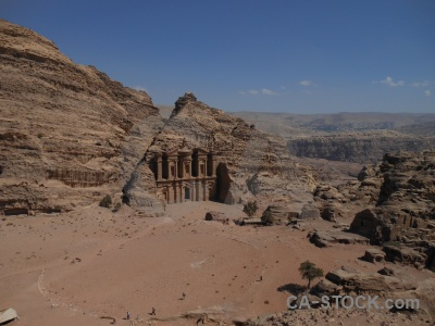Petra cliff rock carving western asia.