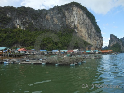 Phang nga bay floating sea village stilts.