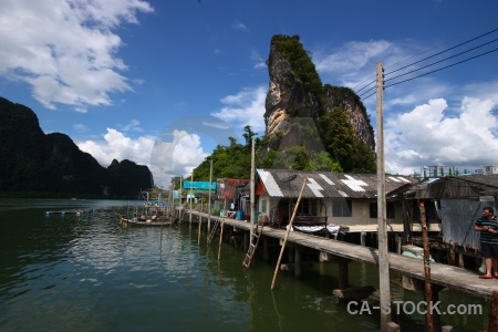 Phang nga bay thailand stilts cliff cloud.