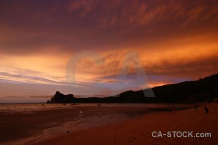 Phi phi island sand beach sky water.