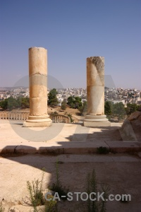 Pillar historic ancient sky jarash.