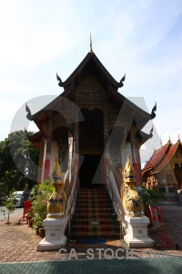 Pillar temple southeast asia chiang mai tree.