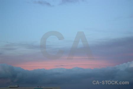 Pink sky blue cloud.